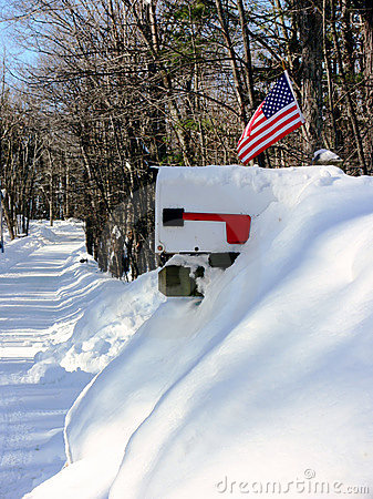 Winter: US mail box in snow