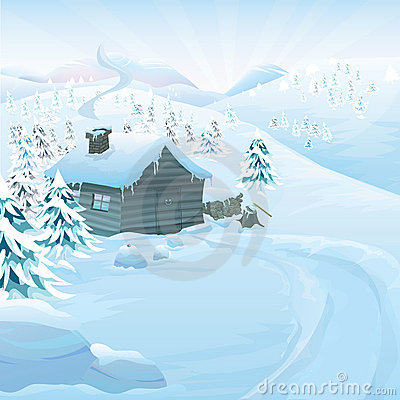 Free Winter Vector Landscape Royalty Free Stock Photos - 21762628
