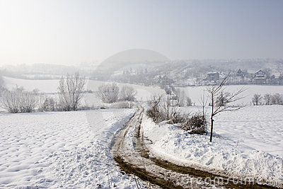 Winter view of farm track in the snow