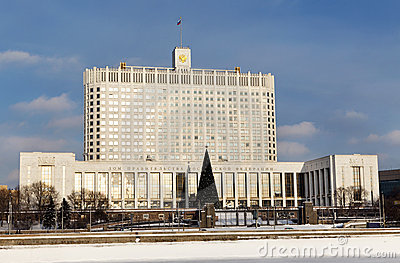 Winter view of Government White House of the Russia