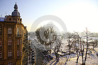 Winter view of Krakow city