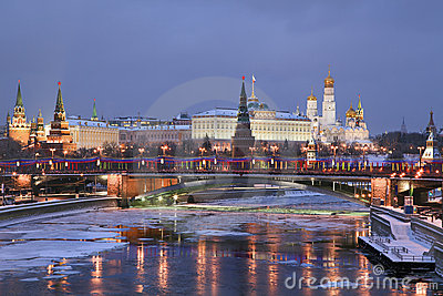 Winter view of Moscow river and Kremlin