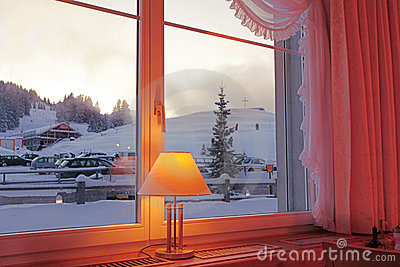 Winter view through a window