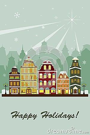 Winter village greeting card