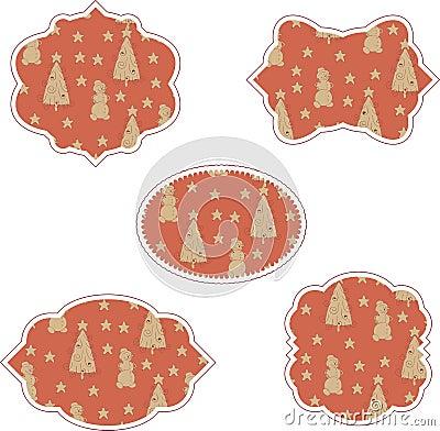 Winter vintage stickers