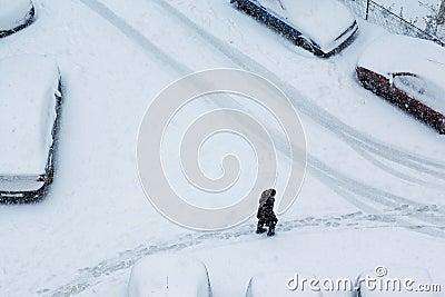 Winter walk in the city
