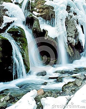 Winter waterfall in jiuzhaigou