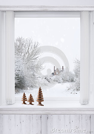 Free Winter Window Stock Photography - 63630122