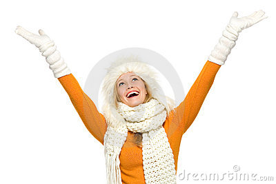 Winter woman with arms raised