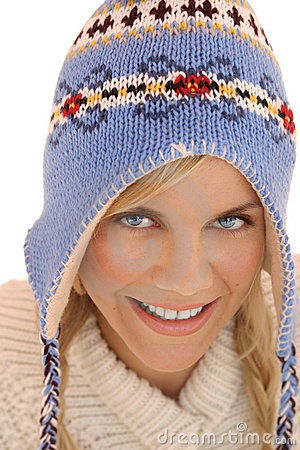 Winter woman closeup
