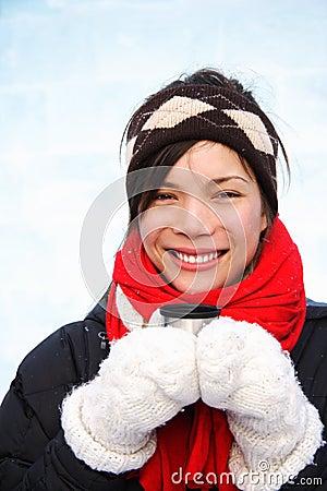 Winter woman drinking coffee