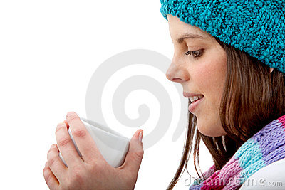 Winter woman drinking hot chocolate