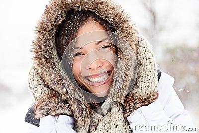 Winter woman happy outside