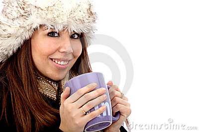 Winter woman with hot drink