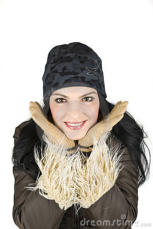 Winter woman with large smile