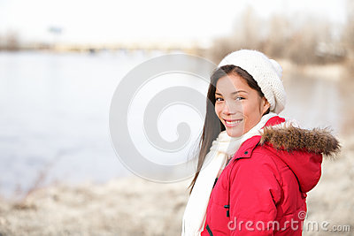 Winter woman portrait outside
