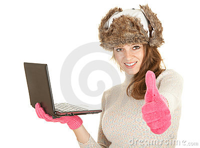 Winter woman using laptop