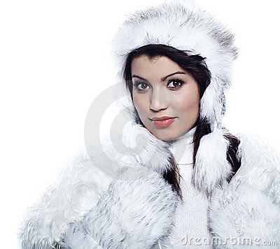 Winter  woman in warm clothing closeup portrait