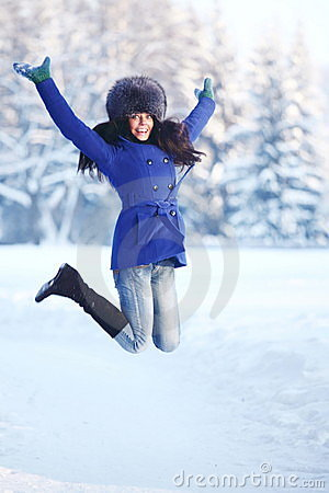 Winter women jump
