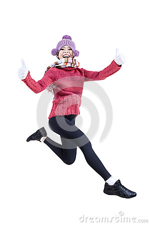 Winter women jumping - isolated