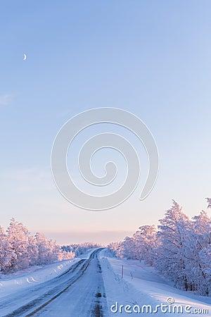 Free Winter Wonderland Lapland Scene Sunset Road Royalty Free Stock Photo - 66112515