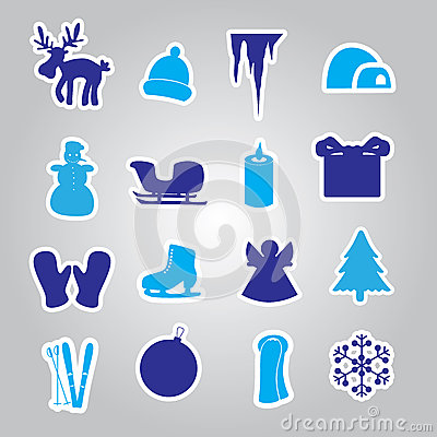 Winter and xmas icon stickers eps10