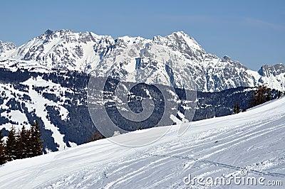 Winter in Zell am See ski resort, Austrian Alps