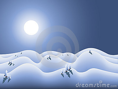 Winterland with moon and snow