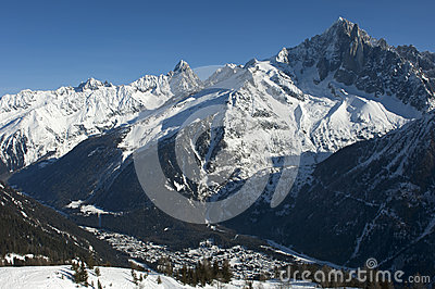 Winterly valley of Chamonix, France