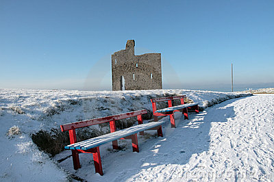 Winters path to ballybunion castle and red benches