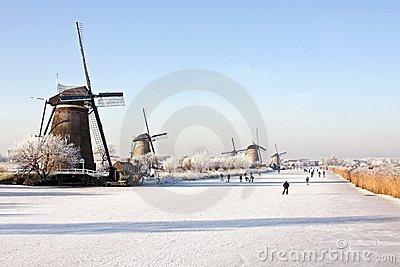 Winterscenery at Kinderdijk in the Netherlands