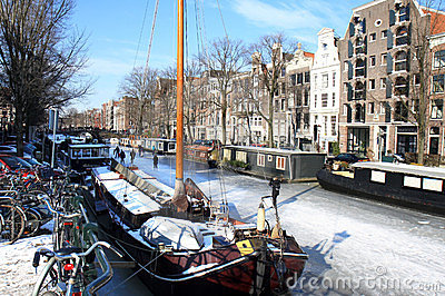 Wintertime in picturesque Amsterdam, Holland Editorial Stock Image