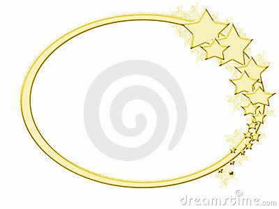 gold oval frame with gold stars and winter embellishments frame and stars have frosted effect