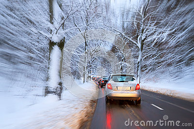Wintery traffic on the road