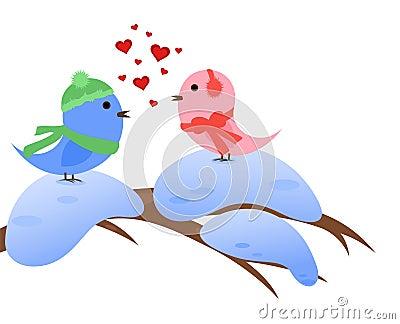 Wintry birds in love