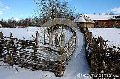 Wintry rural landscape