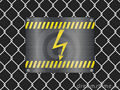 Wire fence and voltage sign