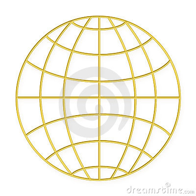 Wire frame globe - Gold