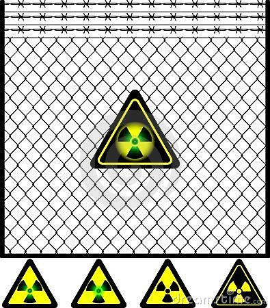 Wire mesh fence and radiation sign
