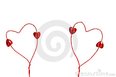 Wire red hearts isolated on white background