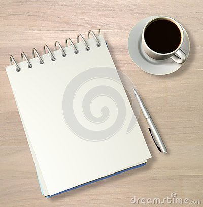 Free Wirebound Note Book, Pen And Black Coffee - 3D Render Royalty Free Stock Photo - 139245815