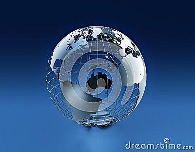 Wired earth globe
