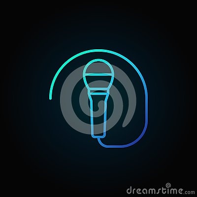 Free Wired Microphone Blue Icon Or Symbol In Thin Line Style Stock Photography - 104408292
