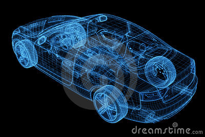 Wireframe Of A Car 3d Model Royalty Free Stock Images