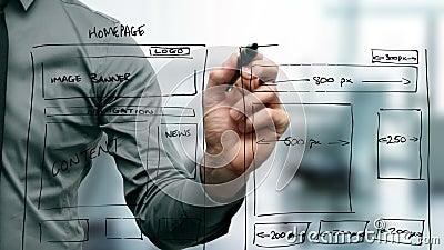 Wireframe del sitio web del dibujo del diseñador web almacen de metraje de vídeo