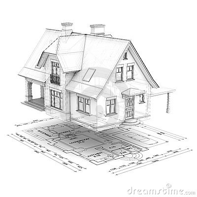 Wireframe house with floor plan