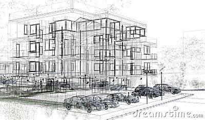 Wireframes exteriores del edificio representaci n del for Que es diseno en arquitectura