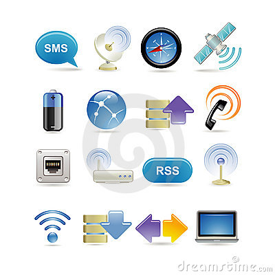 Free Wireless Icon Set Stock Images - 13259044