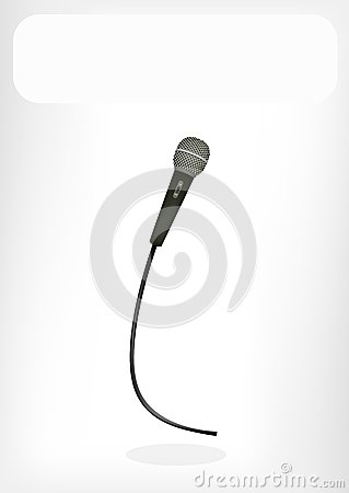 A Wireless Microphone with A White Banner