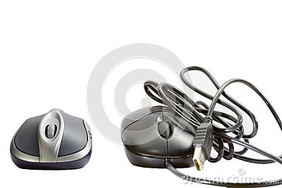 Wireless mouse and cable mouse.